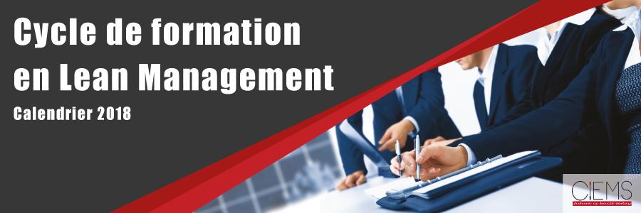 Cycle de formation certifiant en Lean Management, Calendrier 2018